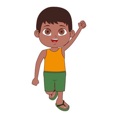 Cute boy in swim suit vector illustration graphic design Illustration