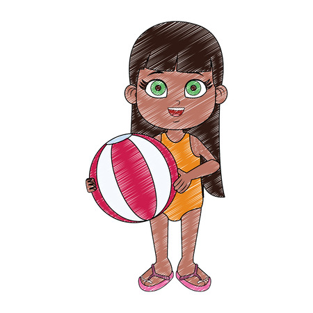 Beautiful girl in swim suit with beach ball vector illustration graphic design