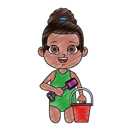 Girl in swim suit with sand bucket and shovel vector illustration graphic design