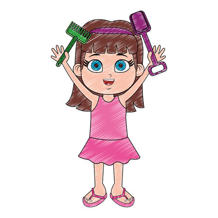 Girl in swim suit with sand tools toys vector illustration graphic design
