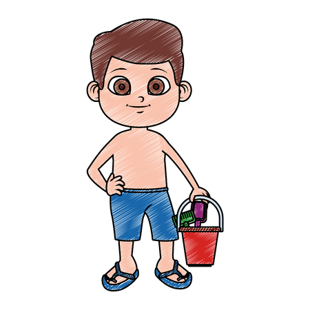 Cute boy in swim suit with sand bucket vector illustration graphic design Vectores