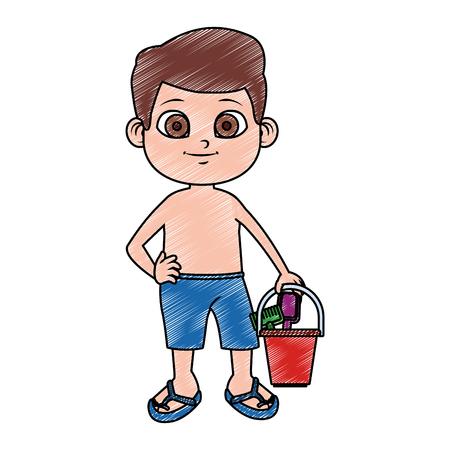 Cute boy in swim suit with sand bucket vector illustration graphic design 矢量图像