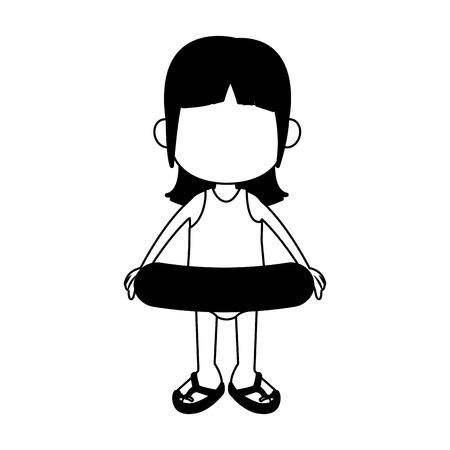 Beautiful girl in swim suit and float vector illustration graphic design