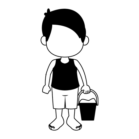 Cute boy in swim suit with sand bucket vector illustration graphic design Illustration