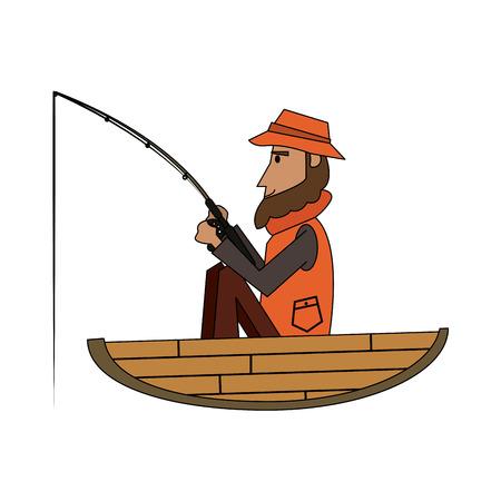 Fisherman on boat cartoon vector illustration graphic design Çizim