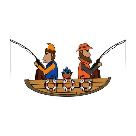 Fishers on boat with rods vector illustration graphic design