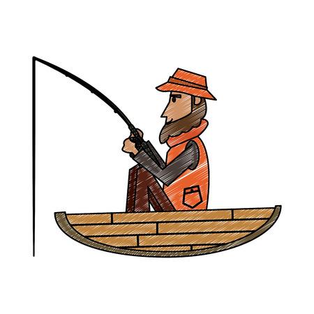 Fisherman on boat cartoon vector illustration graphic design