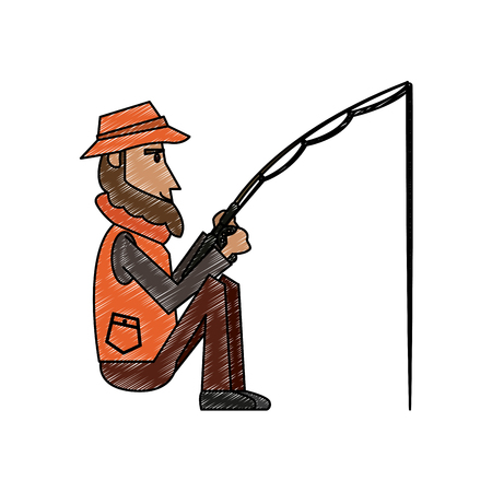 Fisherman with rod vector illustration graphic design