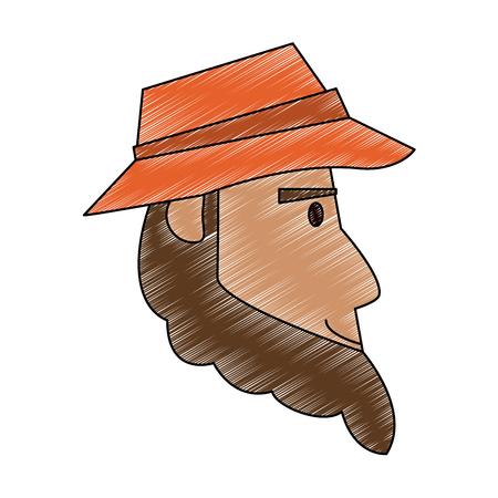 Fisherman face cartoon vector illustration graphic design