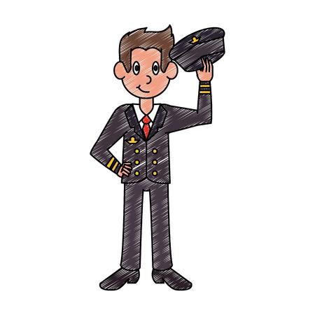 Airplane commercial pilot vector illustration graphic design