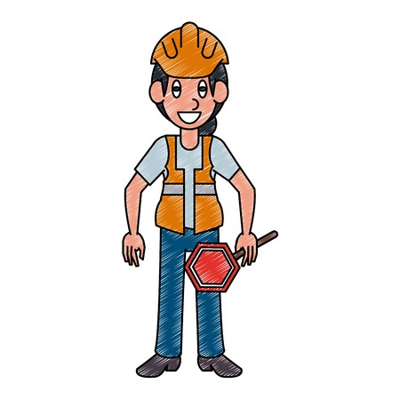 Traffic controller worker vector illustration graphic design 일러스트