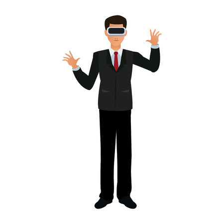Businessman with virtual reality vector illustration graphic design Vettoriali