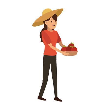 Woman with tomatos harvest in basket vector illustration graphic design