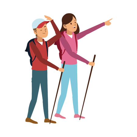 Tourist with backpack and walking sticks vector illustration graphic design