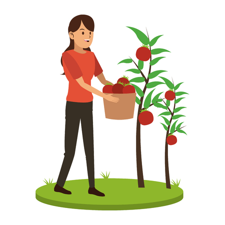 Woman with tomatos harvest vector illustration graphic design