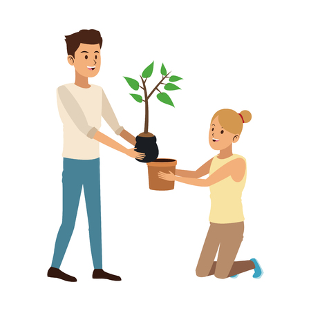 Man and woman planting cartoon vector illustration graphic design