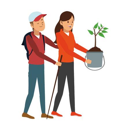 Tuinmannen met planten en gereedschappen vector illustratie grafisch ontwerp