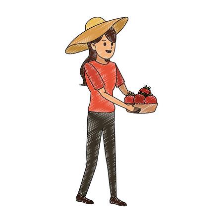 Vrouw met tomatenoogst in grafisch ontwerp van de mand het vectorillustratie