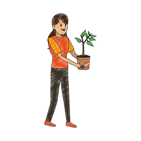 Woman with plant vector illustration graphic design