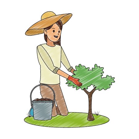 Woman gardener with plant and water can vector illustration graphic design