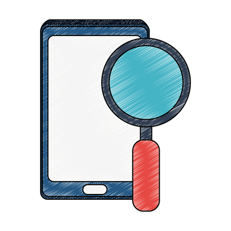 Smartphone with magnifying glass vector illustration graphic design