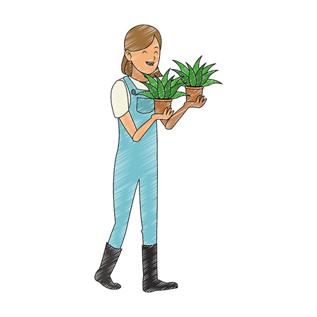 Woman gardener with plant and water can vector illustration graphic design Çizim