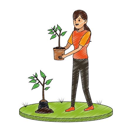 Vrouw tuinman met plant en water kan vector illustratie grafisch ontwerp
