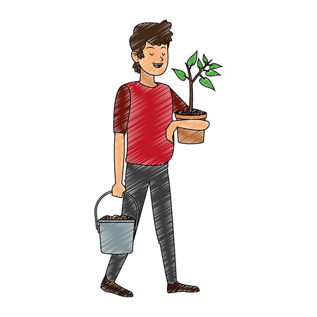 Man with plant and water can vector illustration graphic design Illustration