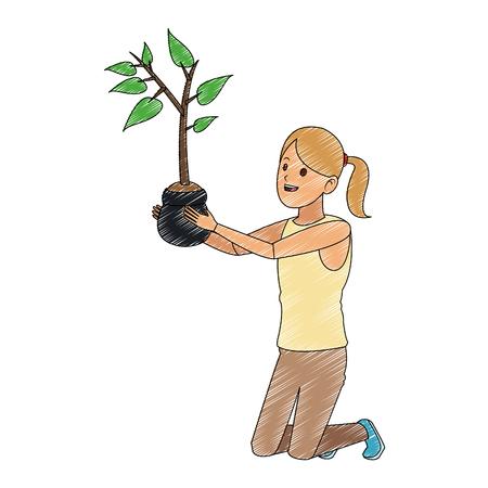 Vrouw met grafisch ontwerp van de plant het vectorillustratie