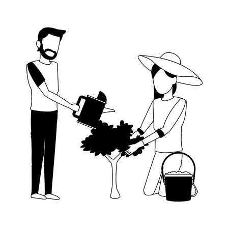 Man and woman planting cartoon vector illustration graphic design vector illustration graphic design