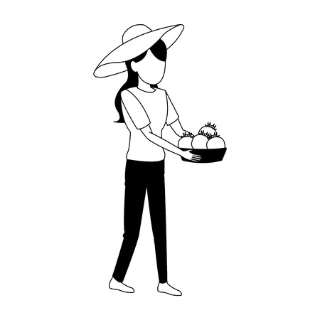 Woman with tomatoes harvest in basket vector illustration graphic design vector illustration graphic design