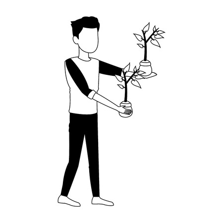 Man with plants on pot vector illustration graphic design