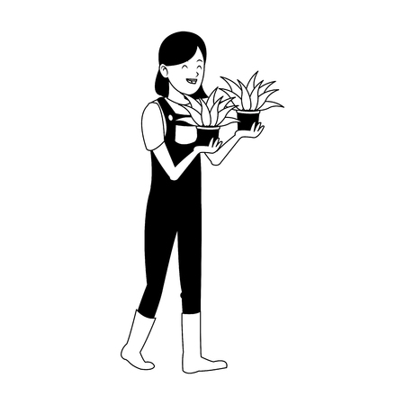 Woman gardener with plants vector illustration graphic design
