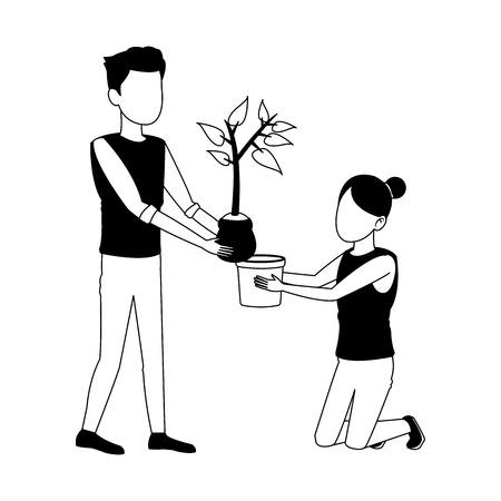 Man en vrouw aanplant cartoon vector illustratie grafisch ontwerp