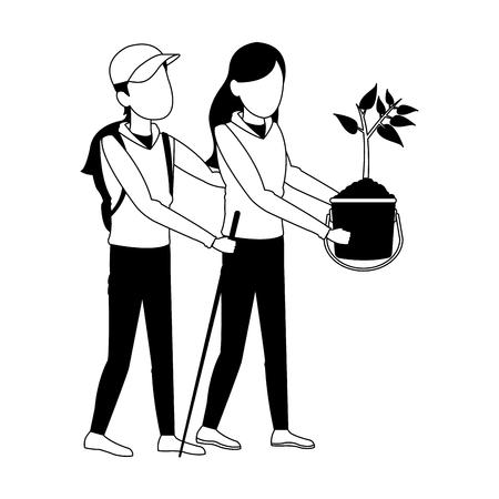 Man and woman planting cartoon vector illustration graphic design