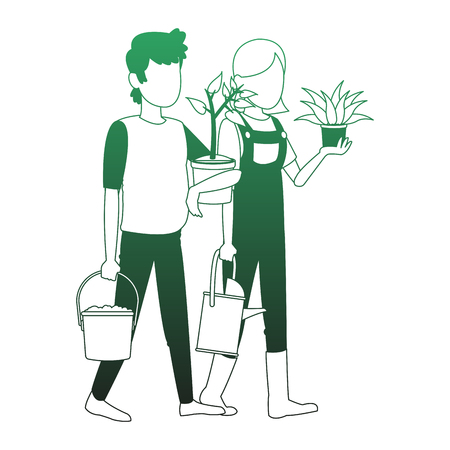 Gardeners with plants and tools vector illustration graphic design
