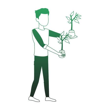 Man wit plants on pot vector illustration graphic design