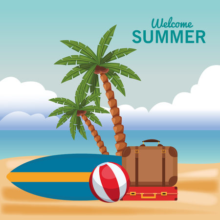 Welcome summer cartoons luggage and surf table with ball vector illustration graphic design