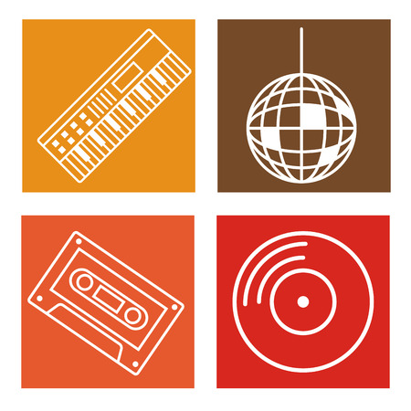 Set of music icons collection on colorful squares vector illustration graphic design Illustration