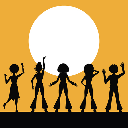 People silhouettes dancing in disco vector illustration graphic design vector illustration graphic design