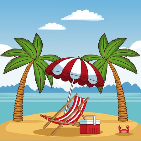 Beautiful summer beach with elements vector illustration graphic design Vektoros illusztráció
