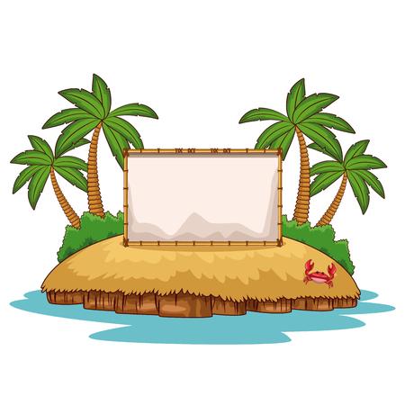 Beach with blank frame cartoon vector illustration graphic design
