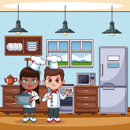 Chef kids cooking at kitchen cartoons vector illustration graphic design