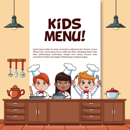 Kids menu poster with little chefs in kitchen cartoons vector illustration graphic design