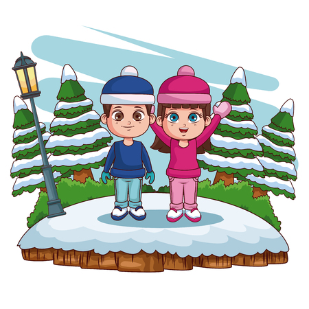 Cute kids playing in winter cartoons vector illustration graphic design
