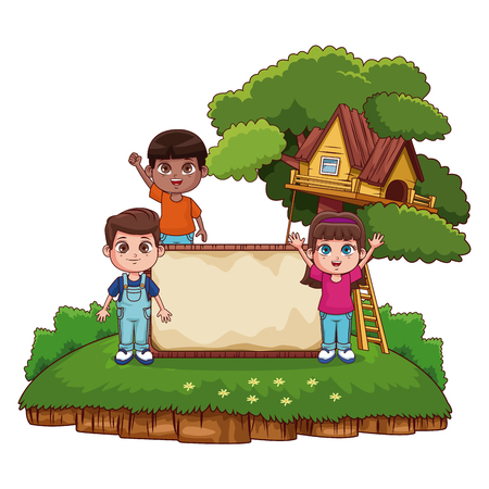 kids with blank wooden board at park vector illustration graphic design