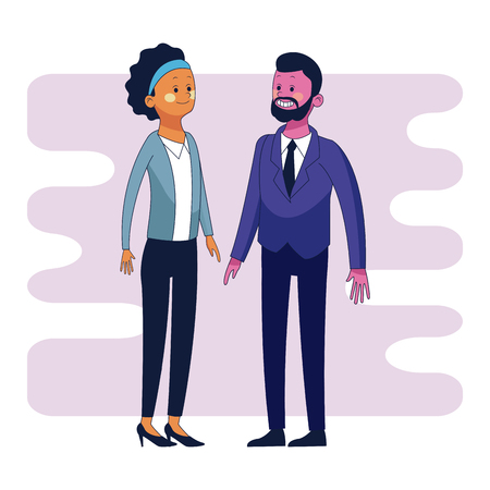 Businessman and business woman cartoon vector illustration graphic design