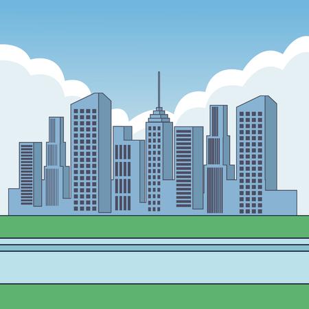 City buildings cartoon scenery vector illustration graphic design Illustration