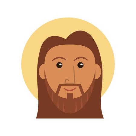 Jesus christ face cartoon vector illustration graphic design Vecteurs