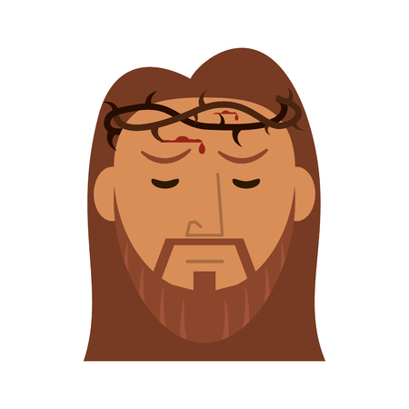 Jesus Christ face with thorns crown vector illustration graphic design